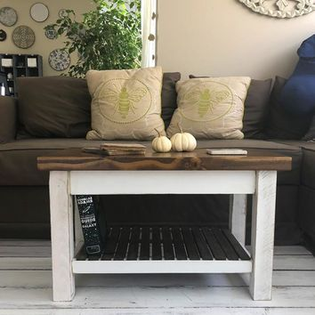 The Headhouse Table - Farmhouse Coffee Table With Shelf