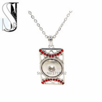 Fashion Diy Snap Jewelry Rectangle Pendant Necklace Red Crystal Necklaces for 18mm snap interchangeable jewelry SJSN185
