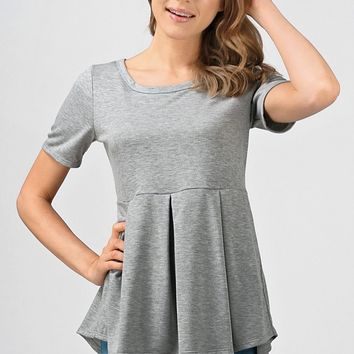 Josie Everyday Peplum Grey Top