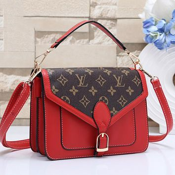 LV Louis Vuitton Classic Popular Women Leather Shoulder Bag Crossbody Satchel Red