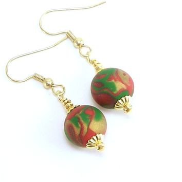 Holiday Earrings, Handmade Polymer Clay Jewelry