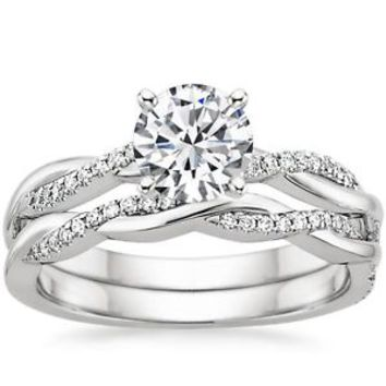 1.05 Ct Twisted Engagement Wedding Ring Set 10K White Gold Moissanite & Diamond