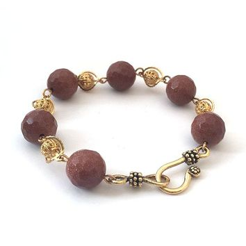 Faceted Terracotta Bead Gold Filigree Link Handmade Bracelet