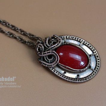 Wire Wrapped Pendant. Handmade copper jewelry. Cabochon of red jade.