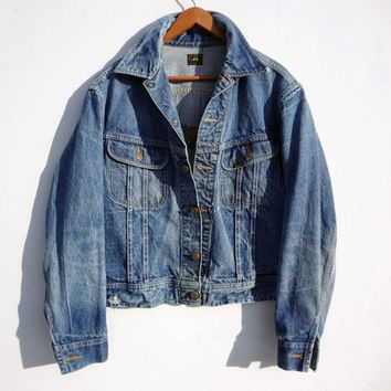 Vintage 80s Hand Embroidered Wolf Jean Jacket - Lee Denim Jacket - Men's Medium Women's Large -