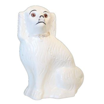 Pre-owned Vintage Staffordshire Spaniel Figurine White