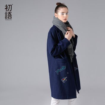 Toyouth Wool Blend Coat Cape Collar Pattern Embroidered Long Sleeve Medium Long Woolen Coat Women Winter Oversize Wool Coat Blue