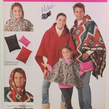 Simplicity 2301 (c. 2010) Child and Adult Size Ponchos, Stadium Pillow, Easy To Sew Pattern, Hooded Poncho, Fleece Poncho, Fall Weear