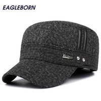 Winter hats men caps hat with earflaps keep warm flat roof baseball caps old men thicken snapback Russia casquette