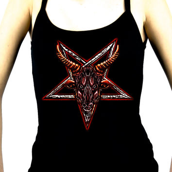 Sigil of Baphomet Goat Head Women's Spaghetti Strap Shirt