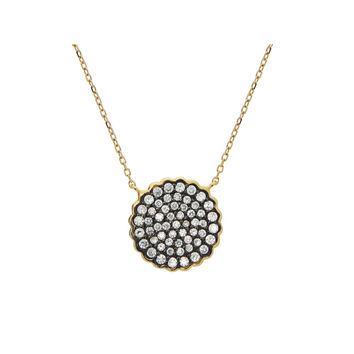 """Black & Gold Plated Sparkling CZ Sun Pendant(16mm) Necklace in Sterling Silver, 15.5""""+1.5"""""""