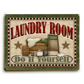 Laundry Room by Artist Angela Anderson Wood Sign