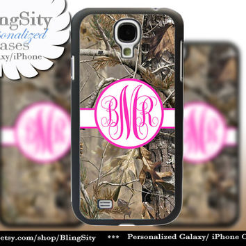 Camo Hot Pink Monogram Galaxy S4 case S5 RealTree Tree Camo Personalized Samsung Galaxy S3 Case Note 2 3 Cover Country Girl