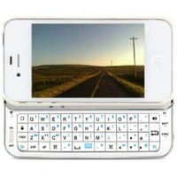 iMounTek Bluetooth Sliding Keyboard Buddy Case - Backlit Edition - Rubberized Hard Shell Case with Integrated Apple Commands and Backlight Keys (White)