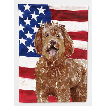 Patriotic USA Labradoodle Flag Canvas House Size CK1726CHF