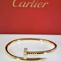 Cartier Juste Un Clou Bracelet Yellow Gold Size 17 Diamonds