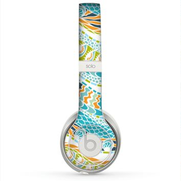 The Vector Teal & Green Snake Aztec Pattern Skin for the Beats by Dre Solo 2 Headphones