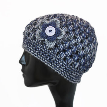 Crochet Bubble Hat, Football Team Colors, Dallas Cowboys, Penn State Nittany Lions, Blue and Gray, Winter Accessories - READY TO SHIP