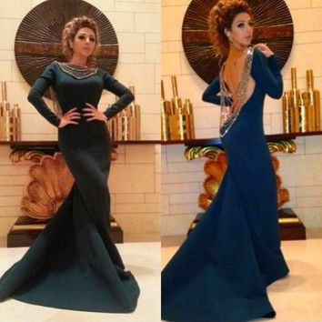 2015 Fashion Myriam Fares Bateau Backless Beaded Long Sleeve Mermaid Prom Dresses