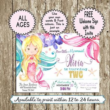 Mermaid Birthday Invitation Watercolor Mermaid invitation Printable Pink Purple Aqua Mermaid Party Invite FREE Welcome Sign First birthday