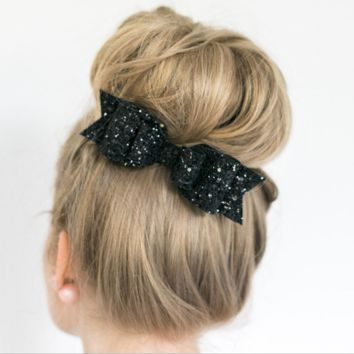 7-color large size shiny gold glitter bow hairpin Ms  Spring clip Black