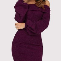New Burgundy Off Shoulder Long Sleeve Cocktail Party Mini Dress
