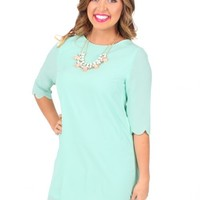 Hey Pretty Girl Mint Scalloped Shift Dress | Monday Dress Boutique