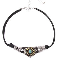 Black Soft Leather Choker with Native American Style Pendant