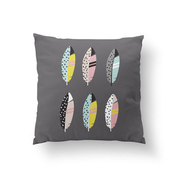 Colorful Feathers Pillow, Nursery Pillow, Home Decor, Cushion Cover,Throw Pillow, Bedroom Decor, Bed Pillow, Decorative Pillow,Flower Decor