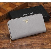 PRADA Leather Zipper bag Women Leather Purse Wallet