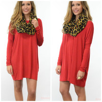 Ellington Dark Red Piko Long Sleeve Dress