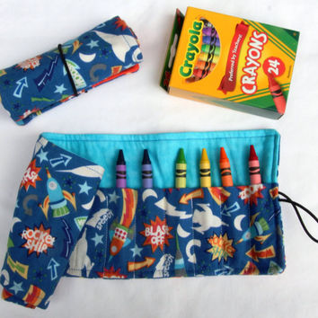 Crayon Roll GLOW in the DARK, Rocket Ships, Blast Off Crayon Holder, Birthday Party Favor, 16 Crayola Crayons Included
