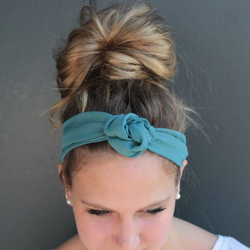 Boho Teal Twist Head Scarf Dolly Bow Wire Headband Bun Wrap
