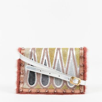Fendi Metallic Silver Leather Multi Patterned Fur Trim Crossbody Bag