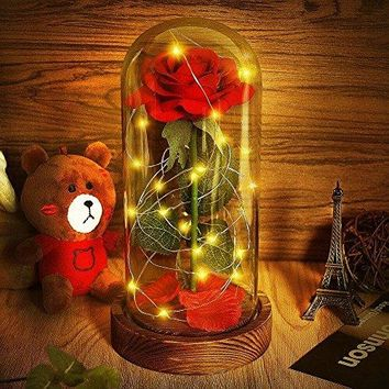 """""""Beauty and the Beast"""" Red Rose / Pink Rose Enchanted Red Silk Rose and LED Light with Fallen Petals in Glass Dome on a Wooden Base Gift for Valentine's Day Wedding Anniversary Birthday"""