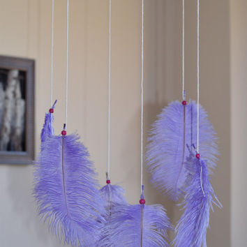"10"" Baby Mobile, Dreamcatcher Mobile, Feather Decor, Ostrich Feather Mobile, Purple and White Dreamcatcher Mobile."