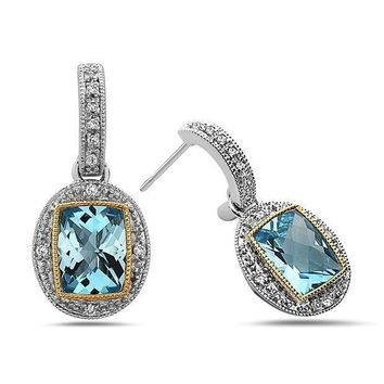 CREYV2S TARA Legacy Radiant Cut Gemstone Diamond Sterling Silver and 14k Gold Earrings, (.08cttw, H Color, SI Clarity)