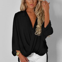 Phillipa Black Cross Over Collar Top | Pink Boutique