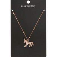 Blackheart Rose Gold Glitter Unicorn Bling Necklace