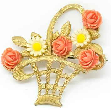 Vintage Flower Basket Brooch - Ceramic Flower - Gold Tone brooch - Gift for her - Mom Gift - Vintage Pin - Coat Brooch - Romantic Jewelry
