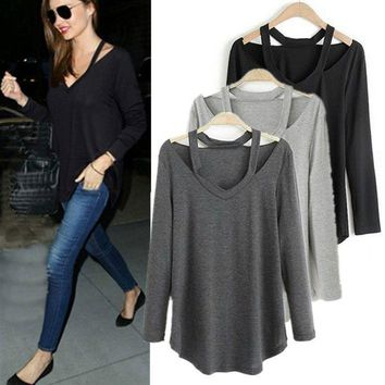 Women V-neck Tops Pullover Long Sleeve T-Shirts Casual Loose Cotton Blouse