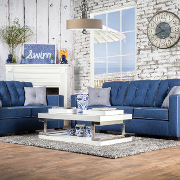 Furniture of america SM8802 2 pc ravel I blue fabric sofa and love seat set with square arms