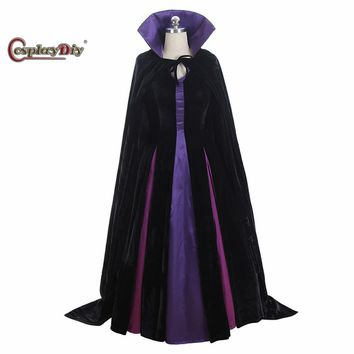 Cosplaydiy Maleficent From Sleeping Beauty Cosplay Costume Evil Queen Cosplay Luxury Dress With Cape