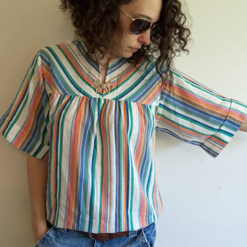 Vintage 70s Multi Color Striped Hippie Boho Peasant Blouse