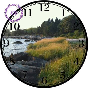 """Tall Grass & Rocky Shoreline Art - -DIY Digital Collage - 12.5"""" DIA for 12"""" Clock Face Art - Crafts Projects"""