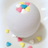 Candied Hearts Bath Bomb Fizzy - Handmade Bath and Body - Bath Soak - Vegan - 4oz