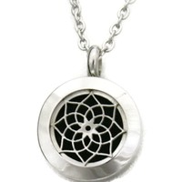 """Sacred"" Lotus 316L Stainless Steel Essential Oil Diffuser Necklace- 20mm- 20"""