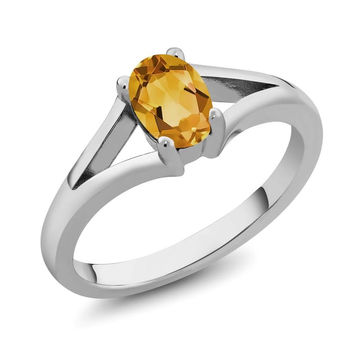 Oval Yellow Citrine 925 Sterling Silver Ring