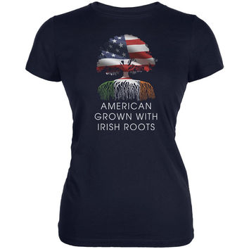 4th of July American Roots Navy Juniors Soft T-Shirt