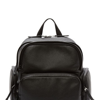 Diesel Black Leather Parakute Backpack